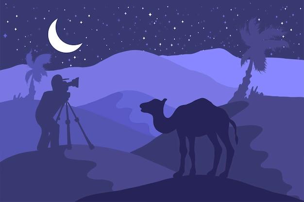 Vida silvestre, ilustración plana de fotógrafo de naturaleza. paisaje nocturno minimalista con camello, luna, palmera.