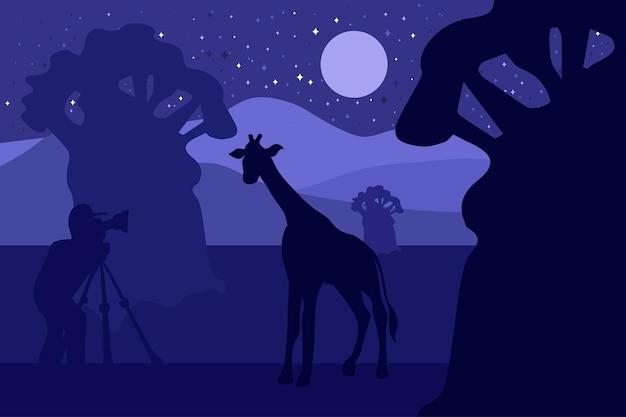 Vida silvestre, ilustración de vector de fotógrafo de naturaleza. noche minimalista con silueta de jirafa.