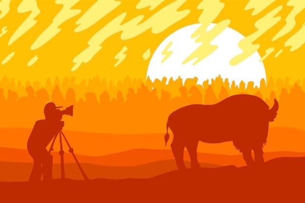 Vida silvestre, ilustración de vector plano de fotógrafo de naturaleza. paisaje minimalista con silueta de bisonte.