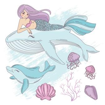 Vida subacuática dibujos animados de viajes ilustración vectorial tropical