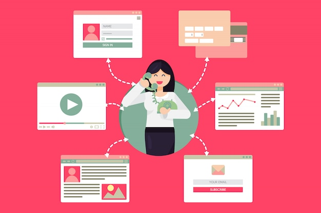 Vida en la web de la mujer trabajadora con teléfono desde el video