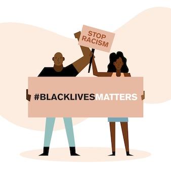 Las vidas negras importan detener el racismo pancartas diseño de mujer y hombre del tema de protesta.