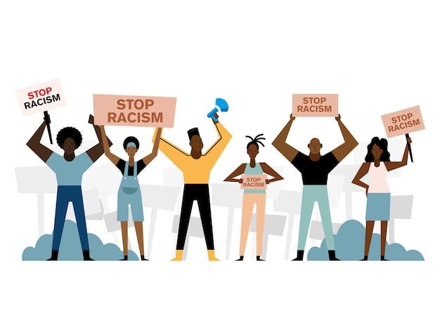 Las vidas negras importan detener el racismo pancartas megáfono mujeres y hombres diseño de tema de protesta.