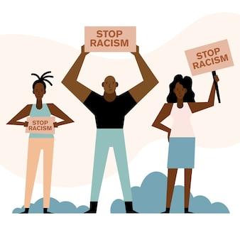 Las vidas negras importan detener el racismo pancartas mujeres y hombres diseño de tema de protesta.