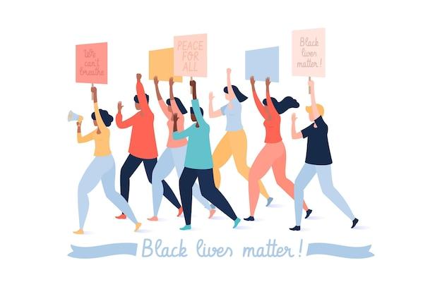 Las vidas negras importan, la gente protesta contra el racismo