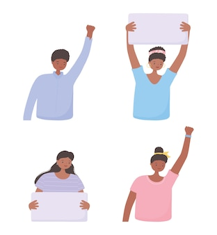 Las vidas negras importan pancarta para protesta, mujeres y hombres con pancartas, campaña de concienciación contra la discriminación racial