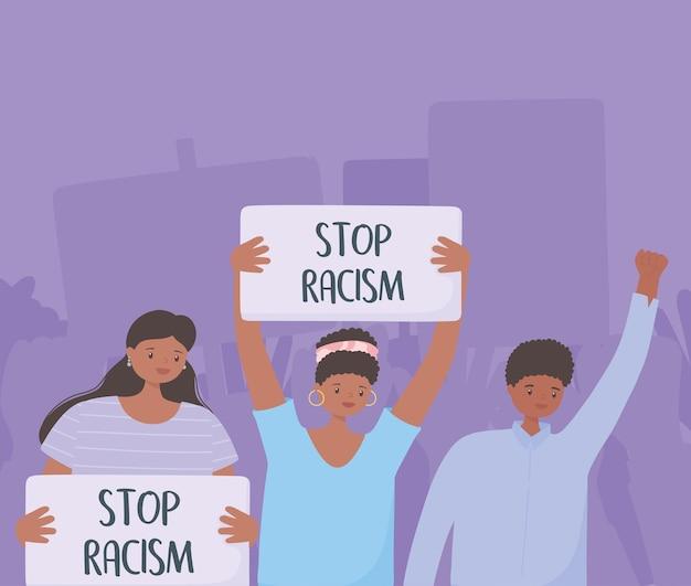 Las vidas negras importan pancarta para protesta, personas que protestan con pancartas, campaña de concientización contra la discriminación racial