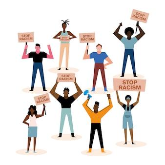 Las vidas de los negros importan detener las pancartas del racismo y el diseño de personas del tema de la protesta.