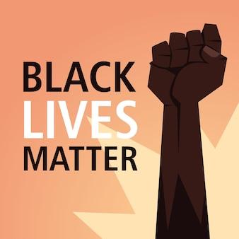Las vidas de los negros importan con el puño de protesta por la justicia y la ilustración del tema del racismo