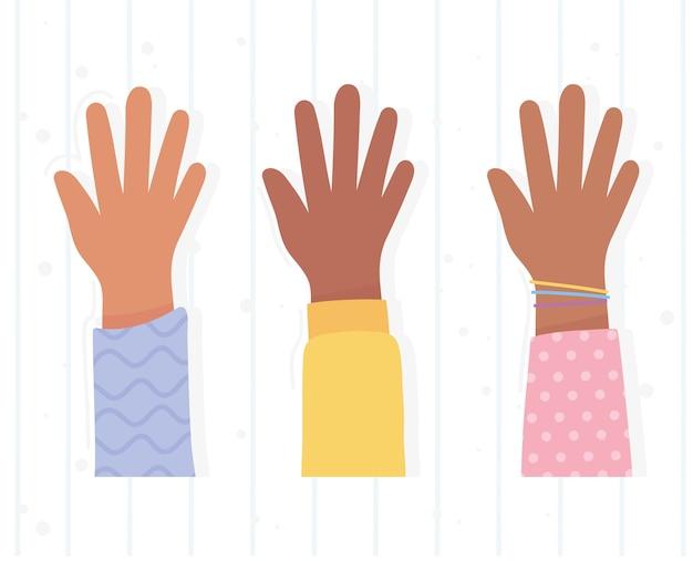 Las vidas de los negros son importantes para la protesta, la gente de la diversidad de manos arriba, campaña de concienciación contra la discriminación racial
