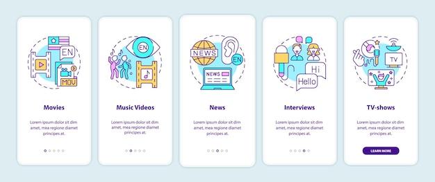 Video para el aprendizaje de idiomas incorporando la pantalla de la página de la aplicación móvil con conceptos