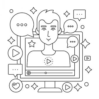Video blogger concepto de línea delgada web. pantalla de ordenador con blogger hombre masculino.