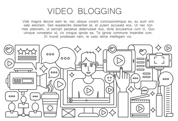 Video blogger concepto de línea delgada
