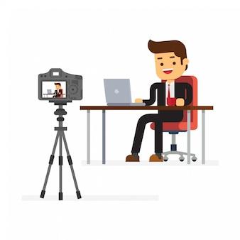 Video blogger haciendo stream