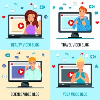 Video bloggers personajes iconos planos concepto cuadrado con viajes belleza moda ciencia yoga temas