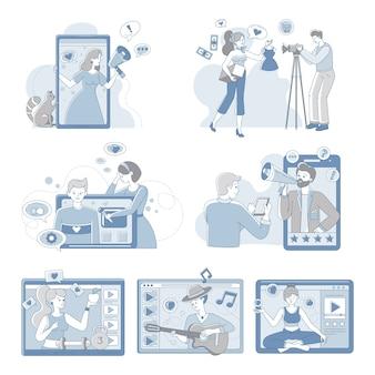 Video bloggers y vloggers personas que hacen contenido para la ilustración de esquema de dibujos animados de internet.