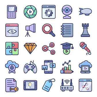 Video blogging y dispositivos iconos planos