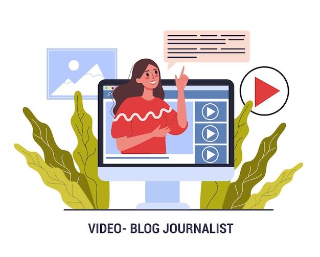 Video bloguero periodista. profesión de los medios de comunicación. mujer comparte contenido