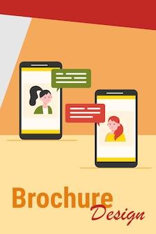Video chat por teléfono. chicas que usan teléfonos inteligentes para la ilustración de vector plano de llamada de conferencia. comunicación en línea, concepto de tecnología de internet