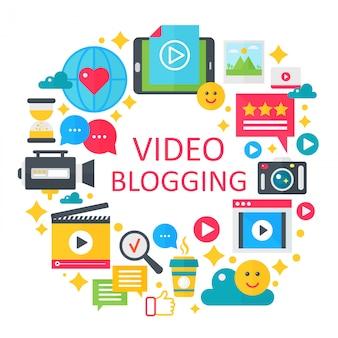 Video concepto de blogging ilustración