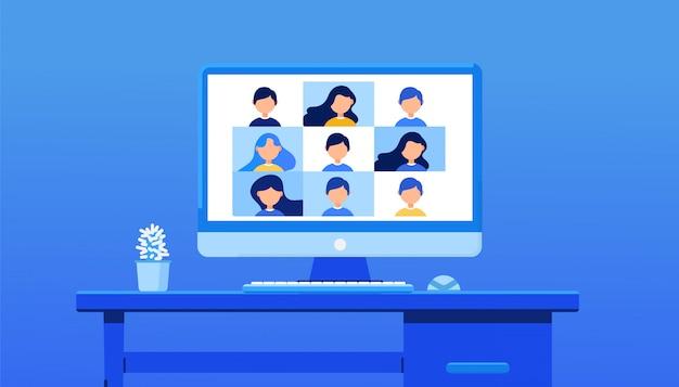 Video conferencia para entrenamiento. e-learning, reunión en línea, trabajo desde el concepto de hogar en el fondo. ilustración para banner web, página de inicio o encabezado web.