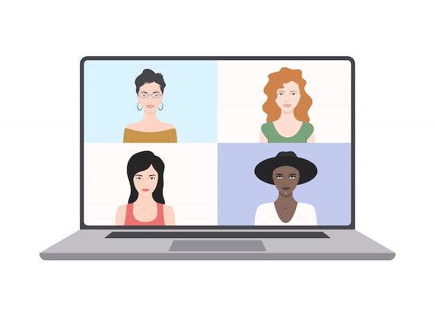 Video conferencia en una laptop