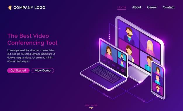 Video conferencia en línea llamada aterrizaje isométrico