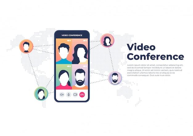 Video conferencia mundial sobre concepto móvil. videoconferencia y banner de reunión en línea.