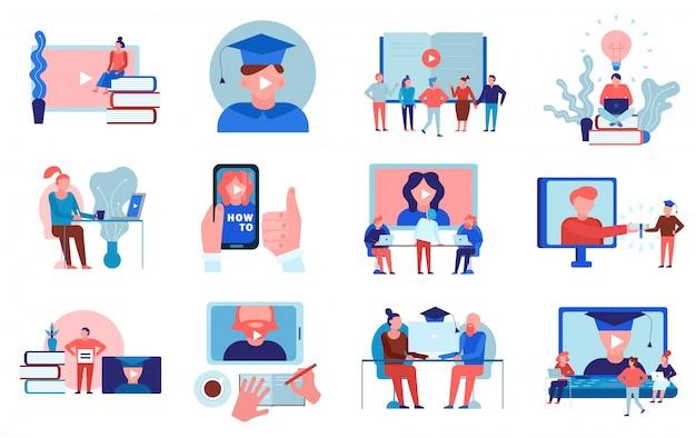 Video de educación en línea, tutoriales, entrenamiento de idiomas, universidad, universidad, cursos certificados, programas, elementos planos, colección, aislado