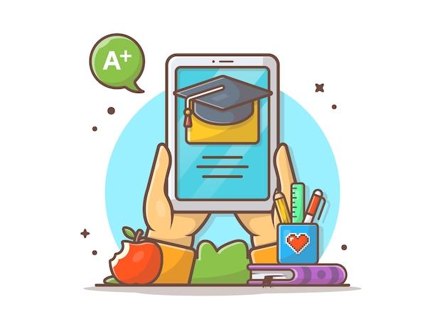 Video educativo en línea en la ilustración del icono de vector de tableta