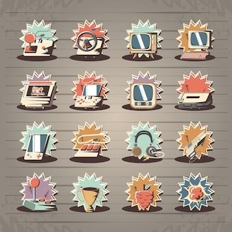 Video juego retro conjunto de iconos vector ilustración diseño