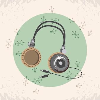 Video juego retro con diseño de ilustración de vector de auriculares