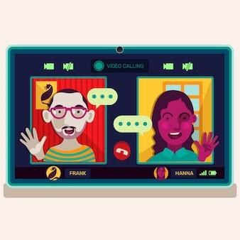 Video llamada de amigos en la ilustración del portátil