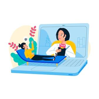 Video llamada con concepto de terapeuta
