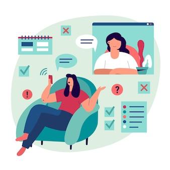 Video llamada con diseño de terapeuta