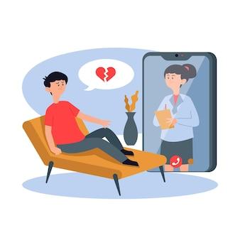 Video llamada de terapeuta en línea sobre rupturas
