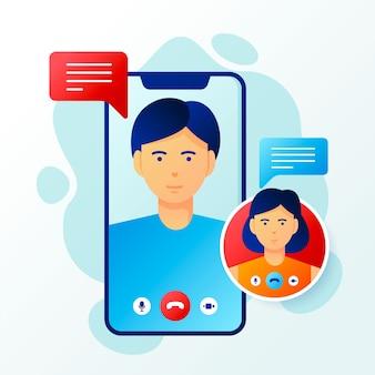 Video llamadas ilustradas de amigos