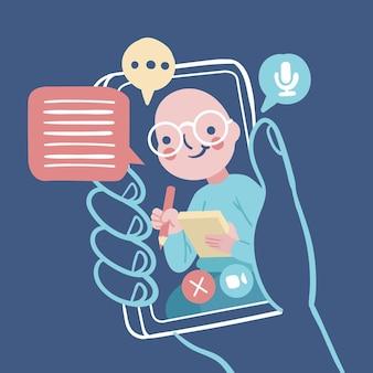 Video llamadas ilustradas con terapeuta