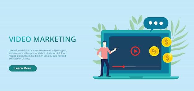 Video marketing concepto banner con espacio libre para texto vector illustration