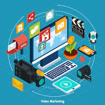 Video marketing concepto isométrico