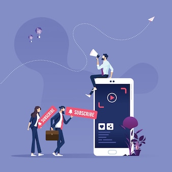 Video marketing e ilustración de suscripción