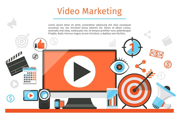Video marketing. fondo abstracto del concepto.