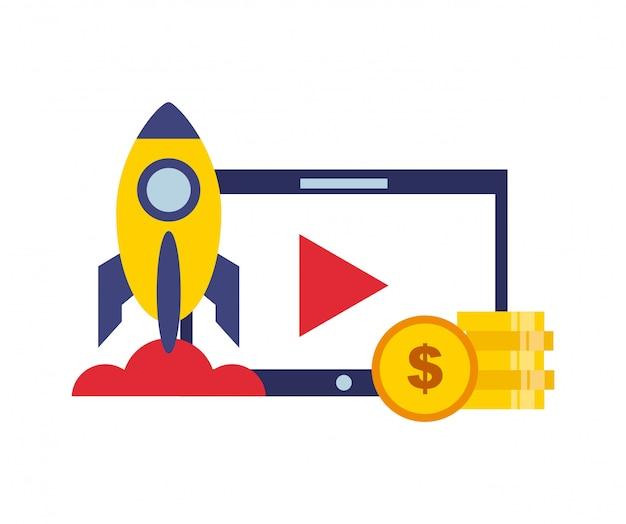 Video marketing iconos de línea plana