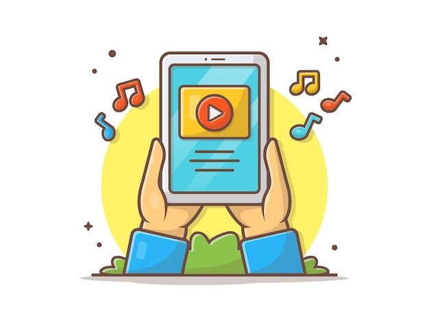 Video musical en línea en la ilustración del icono de vector de tableta