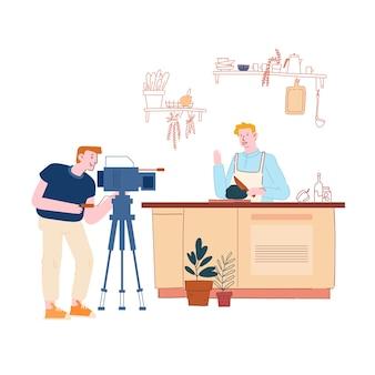 Video de personaje masculino blogger grabación de video