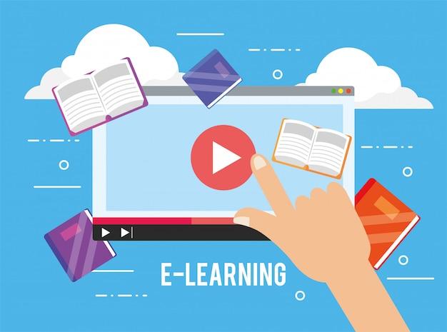 Video del sitio web digital y libros de educación