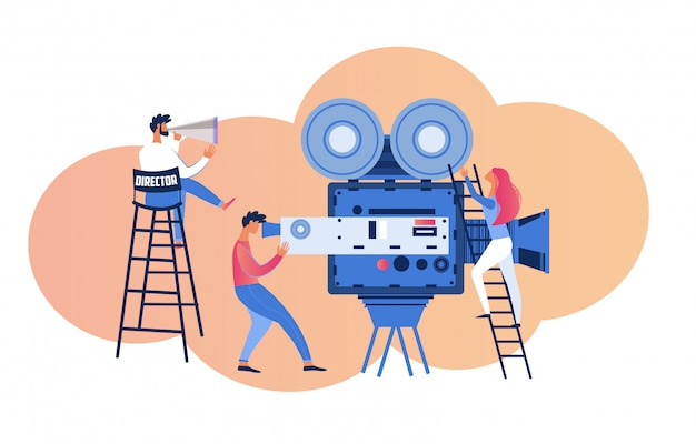 Video studio interior con operador shoot actress