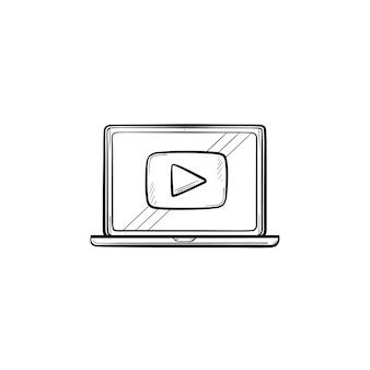 Video tutorial icono de doodle de contorno dibujado a mano. portátil con ilustración de dibujo de vector de video tutorial para impresión, web, móvil e infografía aislado sobre fondo blanco.
