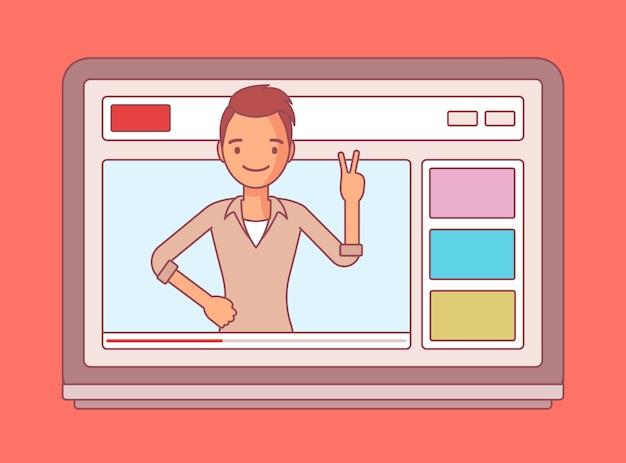 Videoblogger en una pantalla