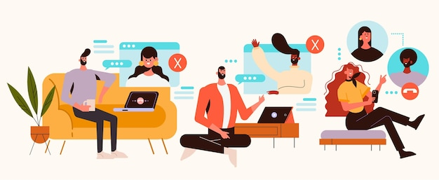 Videoconferencia de amigos dibujados a mano